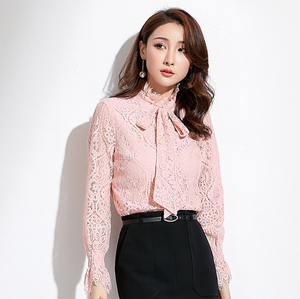 Sexy Pink Lace Up Bowtie Detailing Crew Neckline Long Sleeves Blouse