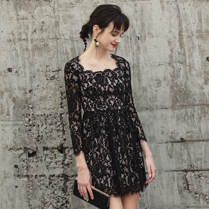 Sexy Black Long Sleeves Scoop Neckline Lace Up Detailing Dress