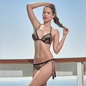 Sexy Two Tone Tie Up Closure Bikini Set