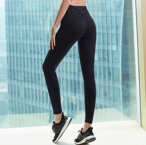Sexy Black Strappy Detailing Work Out Gym Wear Legging