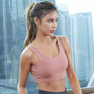 Sexy Round Neckline Cut Out Gym Wear Work Out Sports Bra