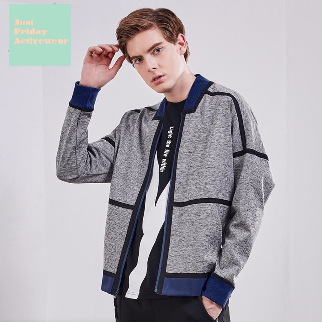 Causal Grey Front Zip Up Closure Long Sleeves Side Pocket Hoodie