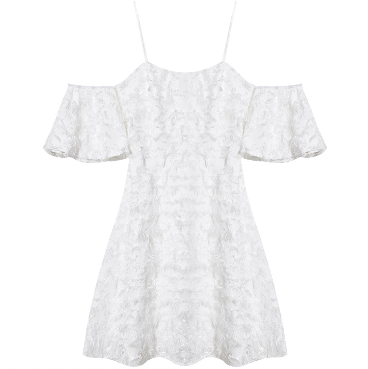 Sexy White Fluffy Detailing Cold Shoulder Short Sleeves Dress