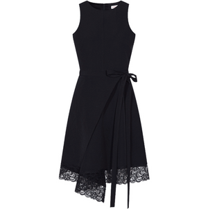 Sexy Black Sleeveless Round Neckline Lace Up Detailing Asymmetrical Hem Dress