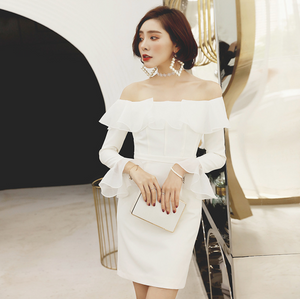 Sexy White Off Shoulder Long Sleeves Dress