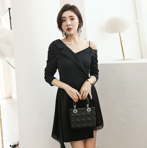 Sexy Black Lace Up Detailing Long Sleeves V Neckline Dress