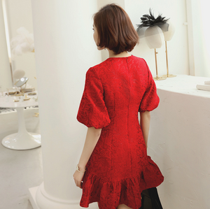 Sexy Red Short Sleeves Lace Up Detailing Dress