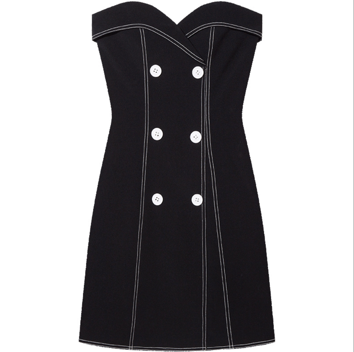 Sexy Black Strapless Button Up Detailing Two Tone Dress
