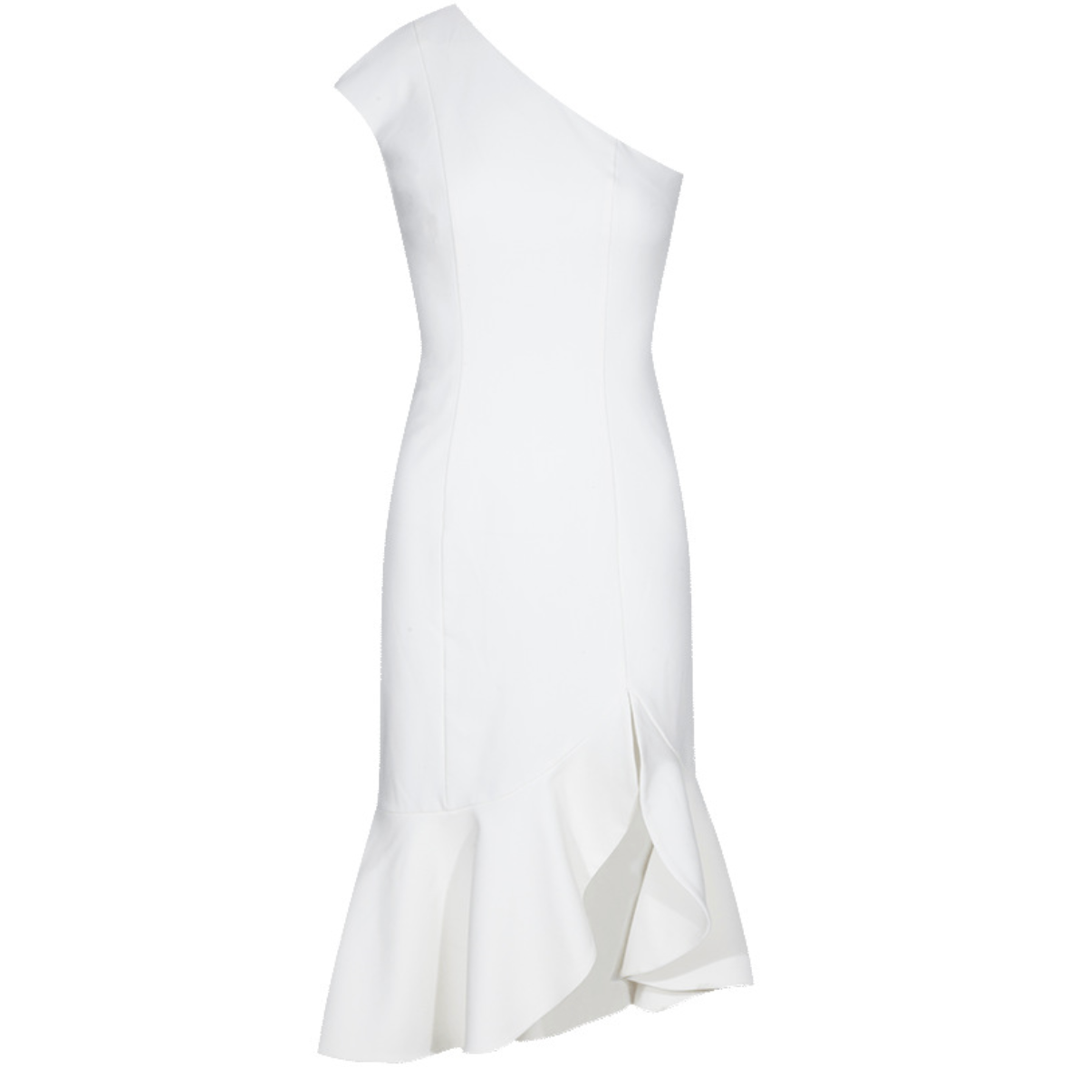 Sexy White Single Shoulder Side Split Asymmetrical Hem Dress