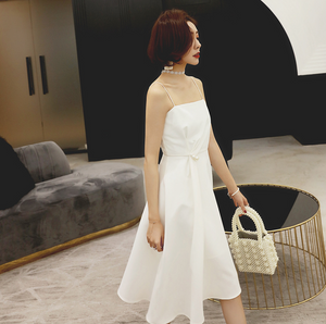 SexyWhite Sleeveless Scoop Neckline A Line Dress