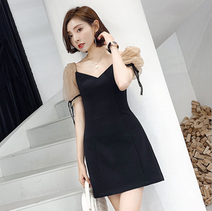 Sexy Two Tone V Neckline Short Sleeves Mesh Detailing Dress