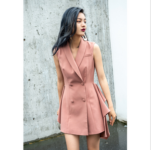 Sexy Coral Sleeveless V Neckline Button Up Detailing Dress