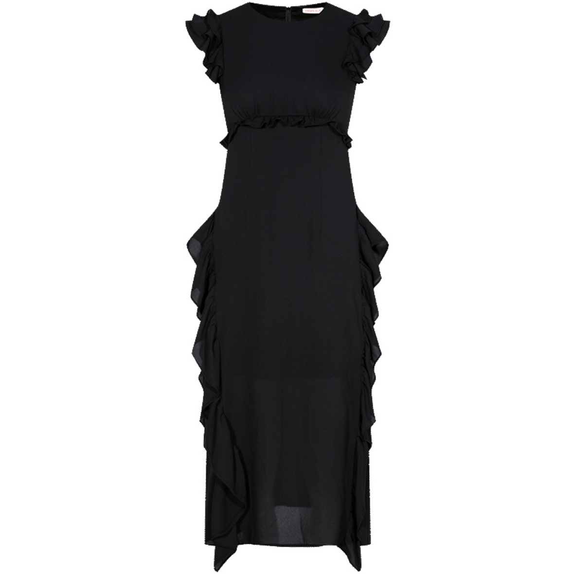 Sexy Black Sleevess Round Neckline Midi Dress