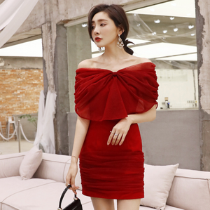 Sexy Red Off Shoulder Bow Tie Detailing Dress