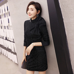 Sexy Black Long Sleeves Bowtie Detailing Crew Neckline Dress