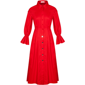 Sexy Red Crew Neckline Long Sleeves Button Up Closure Maxi Dress