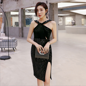 Sexy Black V Neckline Side Split Sequins Detailing Sleeveless Dress