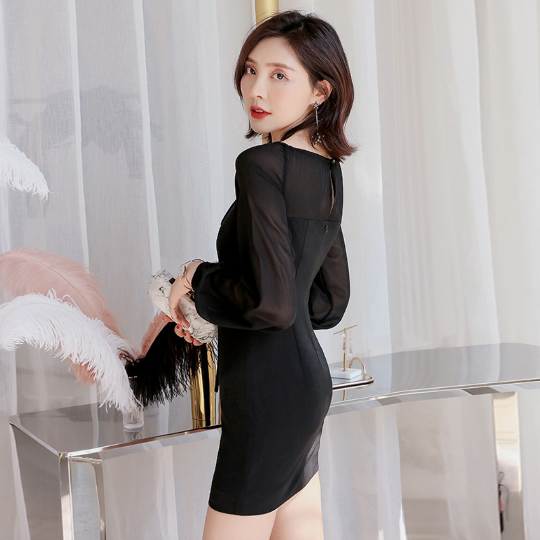 Sexy Black Long Sleeves Round Neckline Strap Detailing Dress