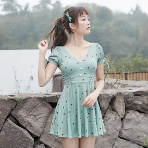 Sexy Green Two Tone Short Sleeves V Neckline Dress