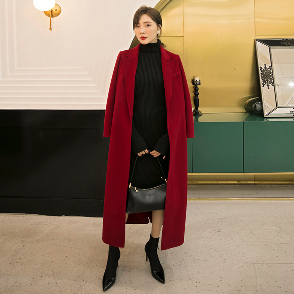 Sexy Red V Neckline Long Sleeves Open Front Waist Tie Detailing Coat