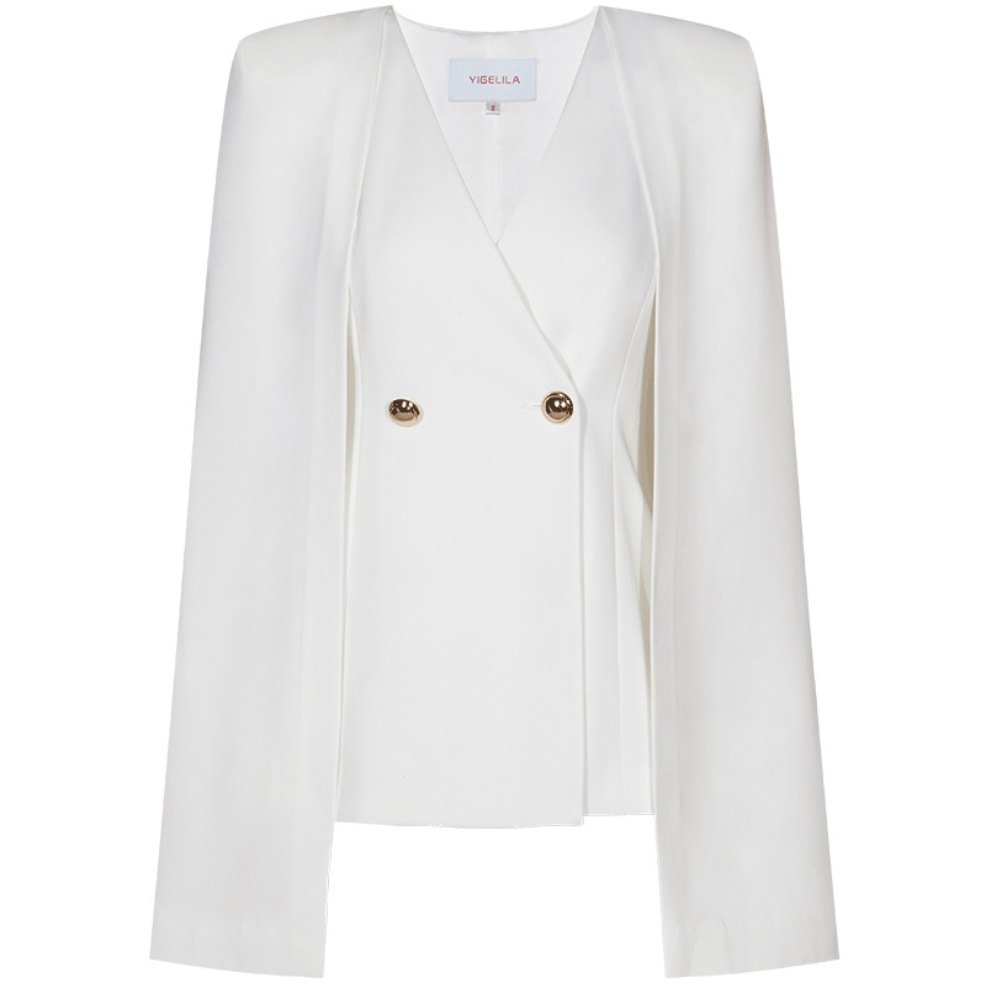 Sexy White V Neckline Long Sleeves Button Up Detailing Jacket