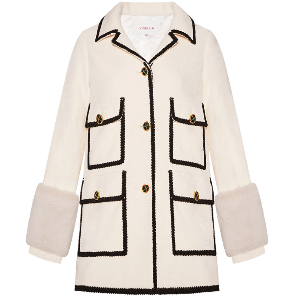 Sexy White Pocket Detailing Long Sleeves V Neckline Two Tone Coat