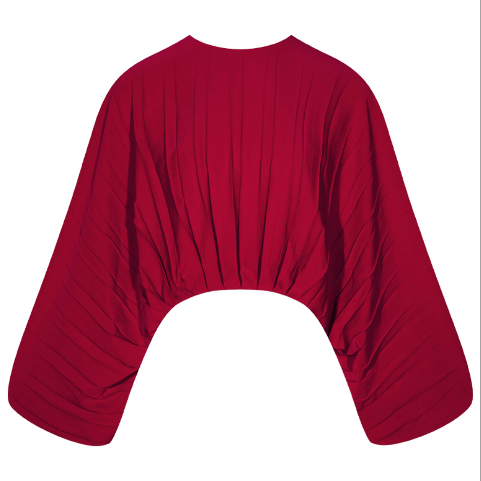 Sexy Red Long Sleeves Round Neckline Blouse