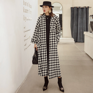 Sexy Two Tone Long Sleeves V Neckline Open Front Maxi Coat