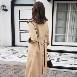 Sexy Khaki Long Sleeves Mock Neckline Waist Tie Detailing Button Up Coat
