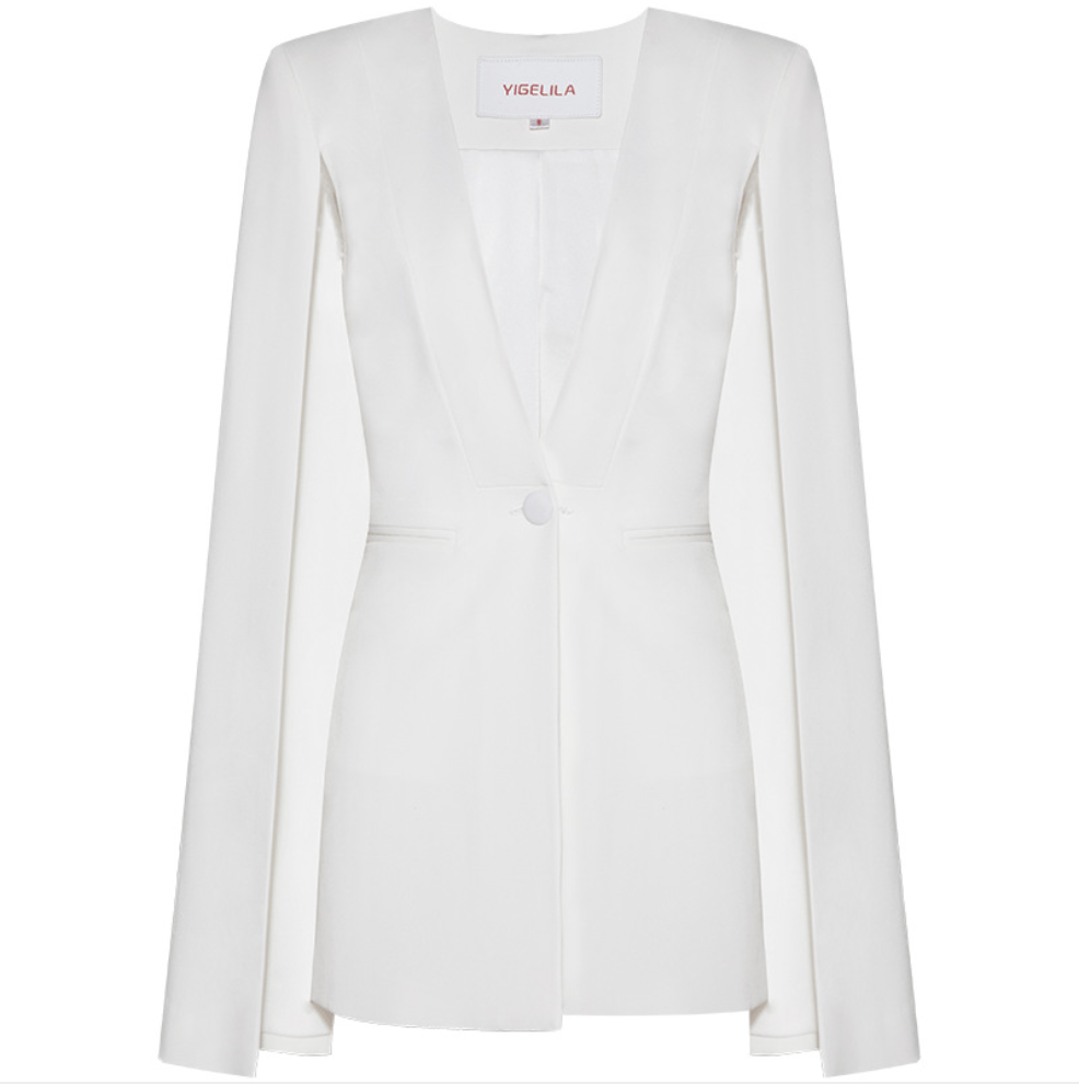 Sexy White Long Sleeves V Neckline Open Front Jacket