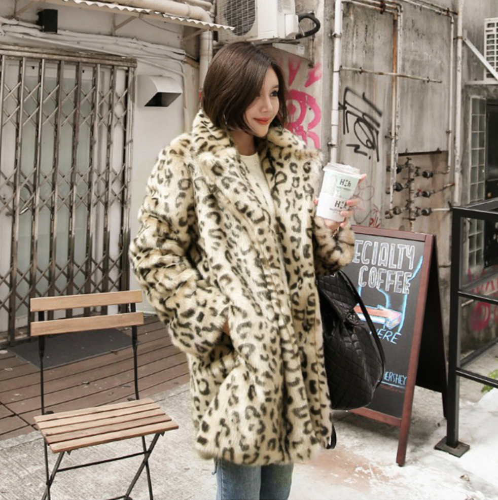 Sexy Long Sleeves Open Front Leopard Prints Coat