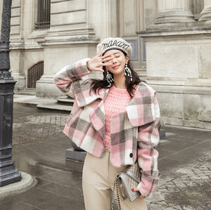 Sexy Pink Long Sleeves Button Up Closure Two Tone Plaids Prints Coat