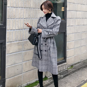 Sexy Long Sleeves V Neckline Button Up Two Tone Coat