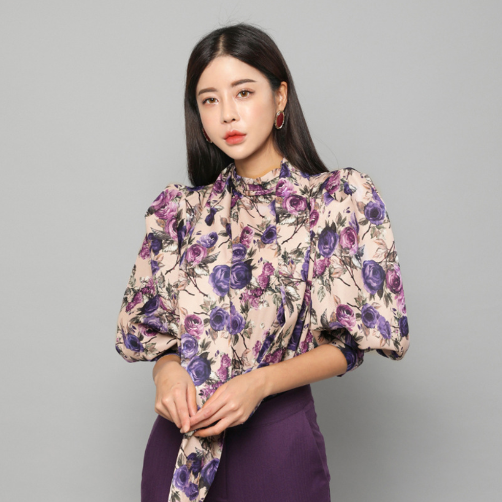 Sexy Mock Neckline Long Sleeves Floral Detailing Blouse