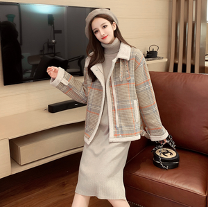 Sexy Long Sleeves Button Up Closure Mock Neckline Plaid Prints Coat