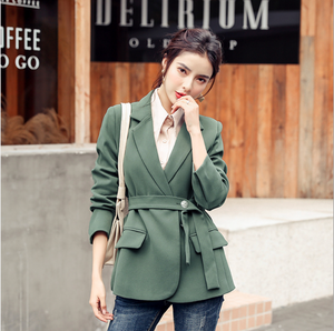 Sexy V Neckline Long Sleeves Button Up Closure Waist Tie Side Pocket Jacket