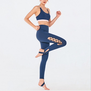 Sexy Strappy Detailing Sports Bra And Legging Sportswear Set