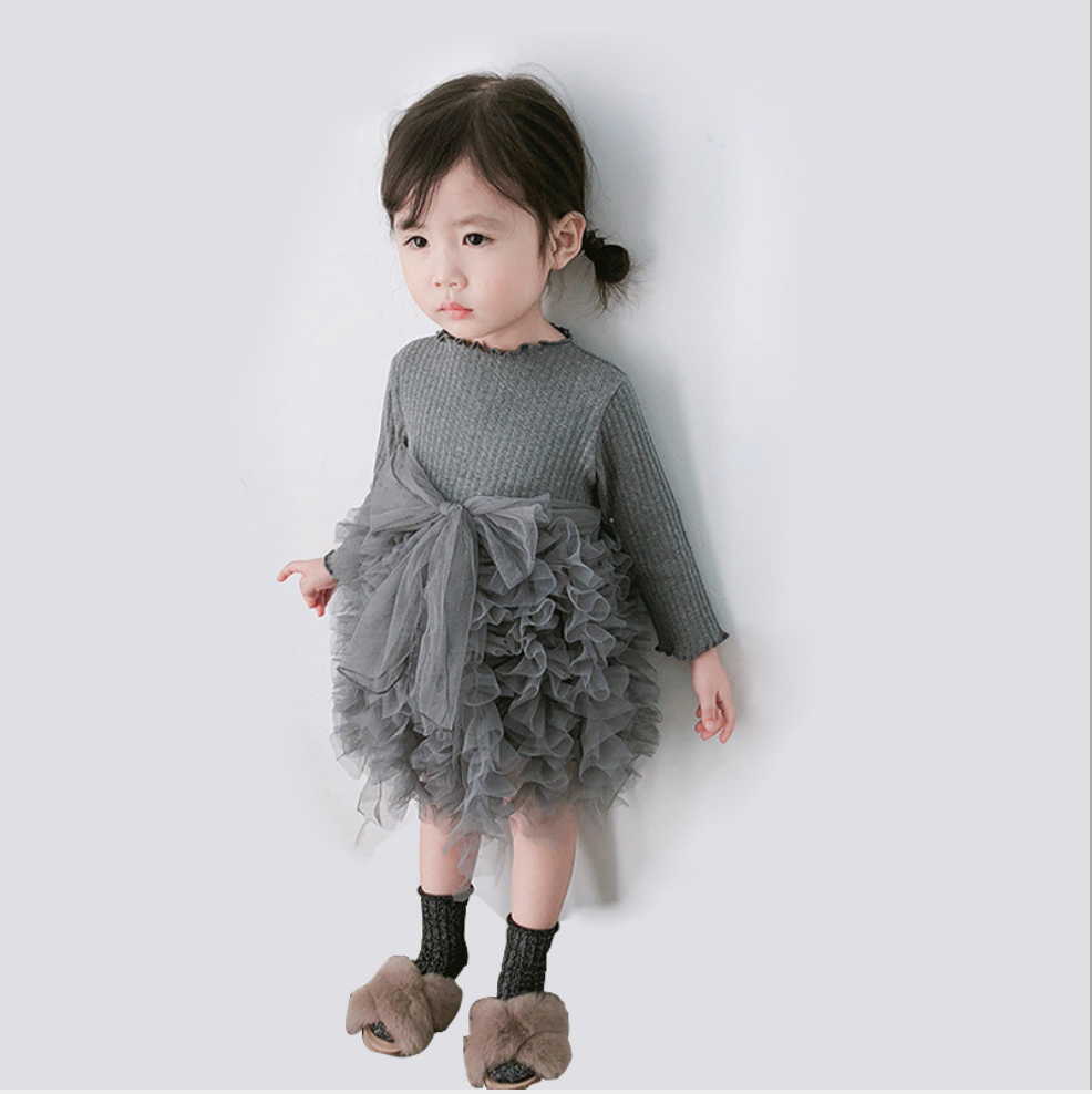 Cut Round Neckline Long Sleeves Princess Girl's Dress