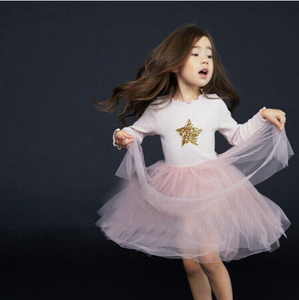 Comfy Round Neckline Long Sleeves Lace Up Detailing Girls' Princess Dress