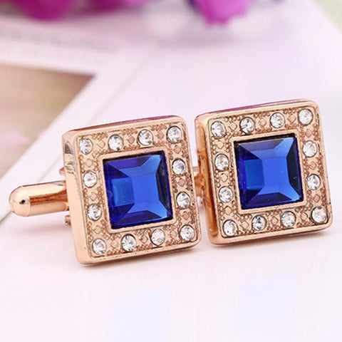 New Golden Blue Square Crystal Rhinestone Cufflinks