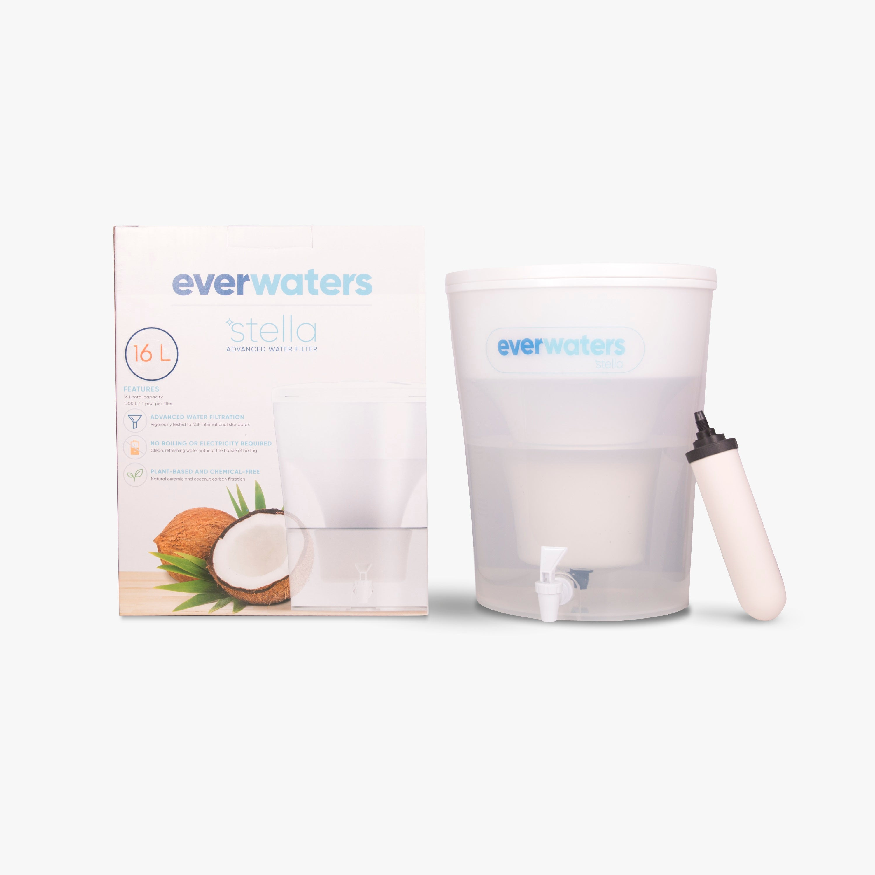 Everwaters Stella best ceramic carbon tap water filter;