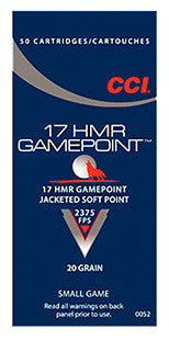 CCI 0052 17HMR 20GR Gamepoint Jacketed Soft Point 50Box/40Case