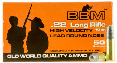 BBM 899033 High Velocity 22 LR 40 GR Copper-Plated Round Nose 50 Bx/ 100 Cs