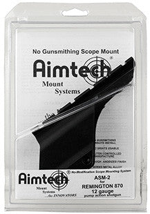 Aimtech ASM2 Dovetail Scope Mount For Rem 870 12 Ga    Satin Black Finish