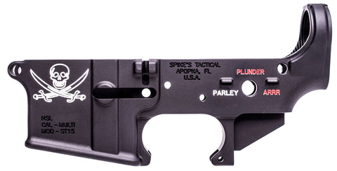 Spikes STLS016-CFA Lower Forged Pirate Multi-Caliber AR Platform Black