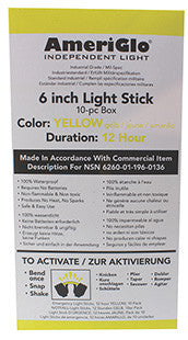 "AmeriGlo 612HY1OB 6"" 12 Hour Yellow Waterproof Light Stick/10 Pack"