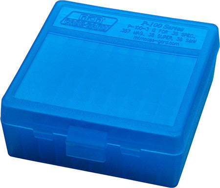 "MTM P100324 P-100 Flip-Top Pistol Ammo Box 1.68"" OAL Blue Poly"