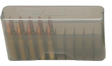"MTM J20L41 20rd Slip-Top Lg Rifle 3.36"" OAL Ammo Box Poly Clear Smoke"