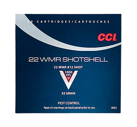 CCI 0025 Low Noise/Training/Specialty 22 WinMag #12 Shot 52GR 20Bx/100Cs