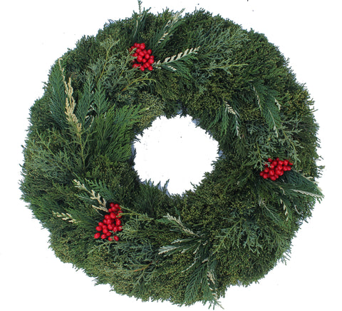 "24"" FRESH Goldtip Cedar, Carolina, Arbavida Wreath"